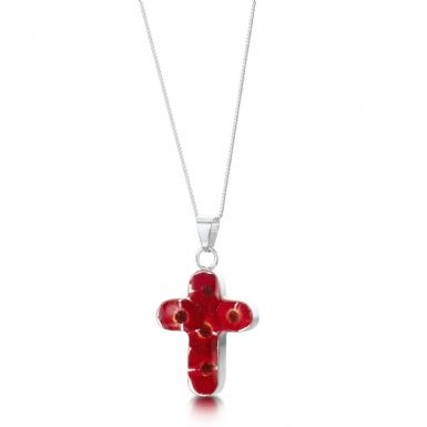 Remembrance Necklace, Poppy Collection Cross (Optional Engraving) | Someone Remembered